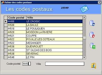 Recherche des codes postaux